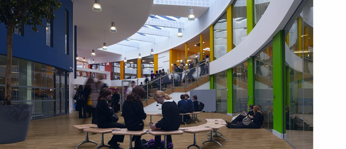 Nailsea Community School, Nailsea Bristol, United Kingdom, Aedas Architects Ltd, NAILSEA COMMUNITY SCHOOL BRISTOL AEDAS 2009 ATRIUM INTERIOR DURING BREAK