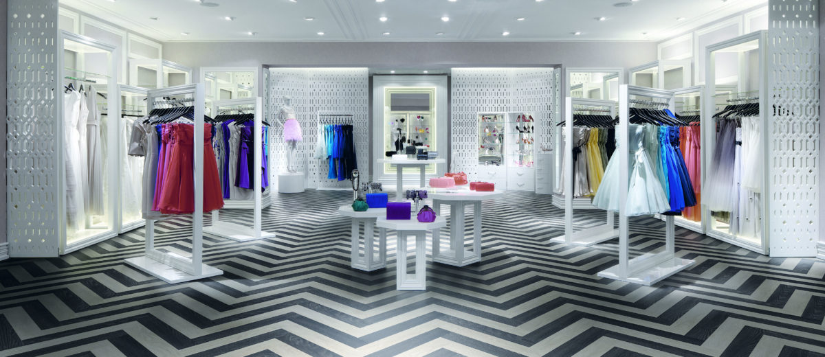 Coast Oxford Street Flagship, Clothes Shop, Europe, United Kingdom, , 2012, Lee Broom. Basement floor looking towards changing rooms entrance.