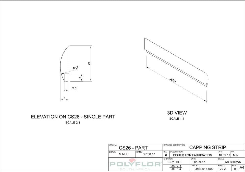 Capping Strip CS26 Technical Drawing