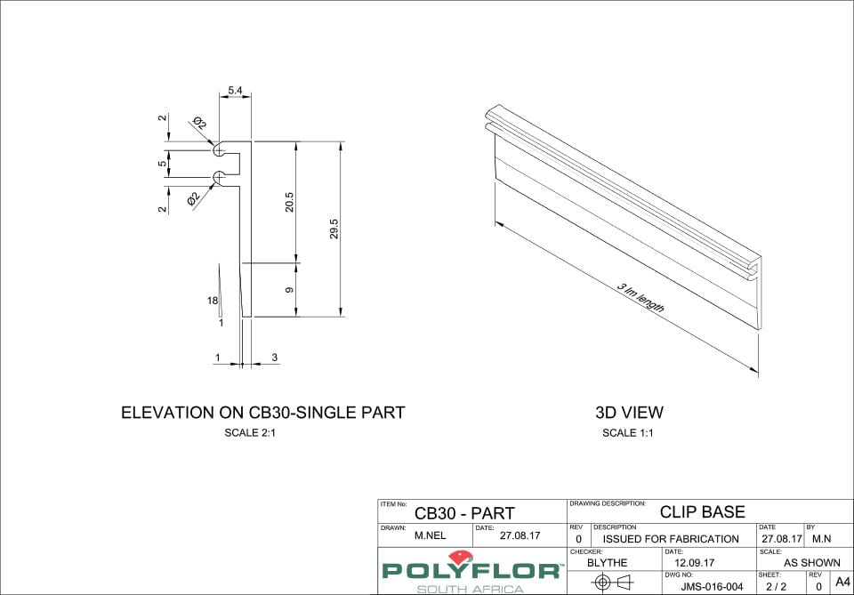 Clip Top Base CB30 Technical Drawing