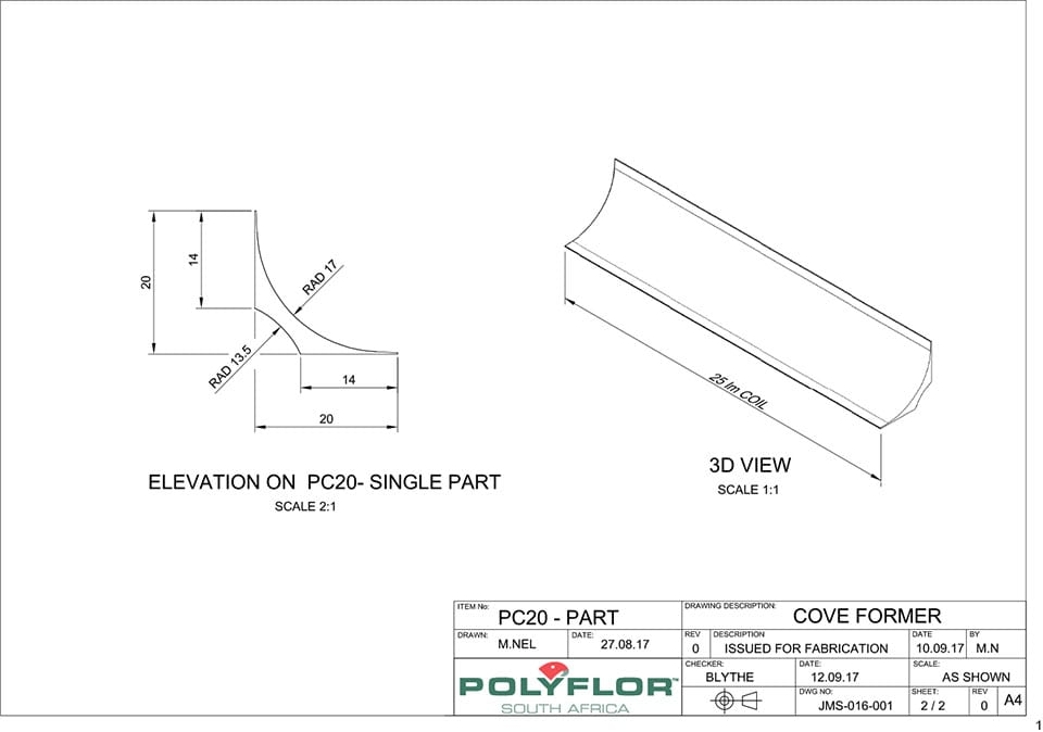 Cove Former PC20 Technical Drawing