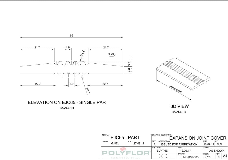 Expansion Joint Cover EJC65 Technical Drawing
