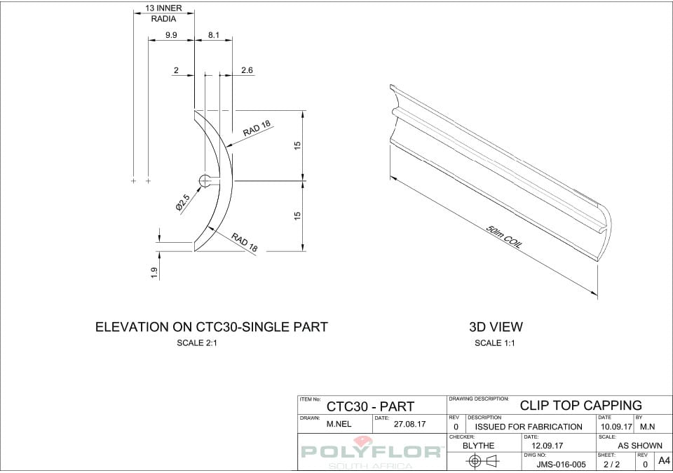 Top Capping CTC30 Technical Drawing
