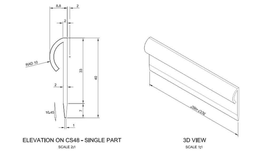 CS48 Capping Strip Technical Drawing